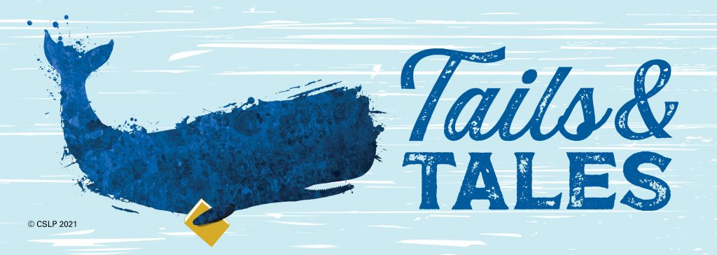"""Summer reading banner graphic with a whale and text """"Tails and Tales"""""""